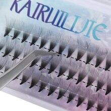 Cílios postiços volume pré-montado 10d 20d, cílios postiços curvados ou sem nó, extensão individual, natural, longos, semi-e permanente