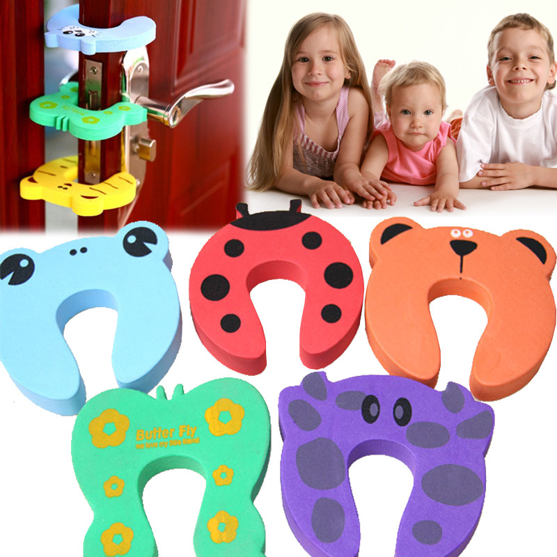 5pcs Kids Cartoon Door Stoper Child Safety Guard Finger Protect Baby Animal Jammer Infant Baby Helper Safety Protector DoorwayD2