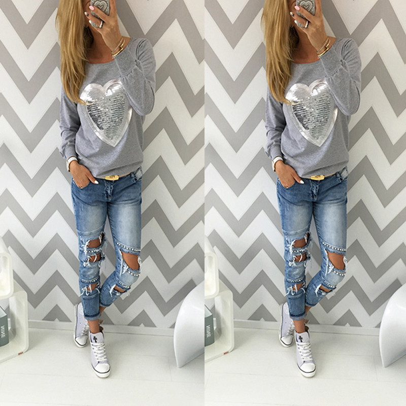 Women Spring Autumn Long Sleeve O Neck T shirt 2016 Ladies Cotton Sequined Tee