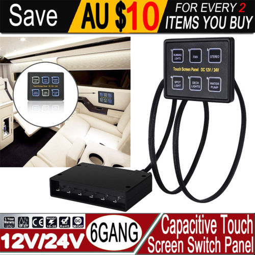 6 gang LED Back Capacitive Touch Screen Panel marine Boat Caravan Switch Panel 12V/24V 15 pin VGA Transmission Cable Switch