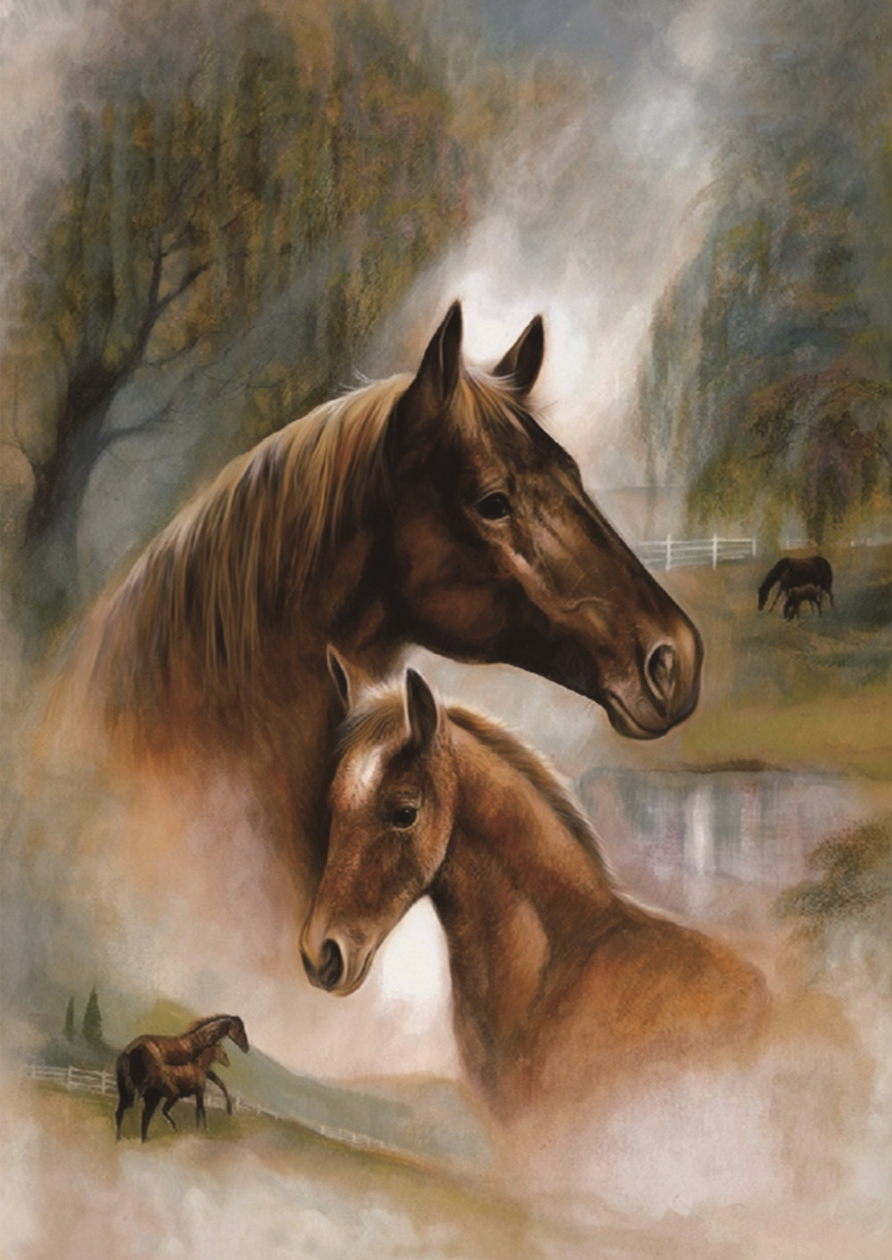 5D Diamond Painting Brown Horses Round Mosaic DIY Square Full Diamond Painting Cross Stitch Embroidery Home Decorative Craft