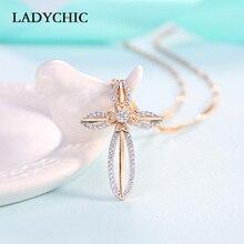 41dd64417794 Elegancia Color oro Cruz colgante Collares para mujeres de moda Christian  Jesús de cristal collar de regalo de la joyería Collar.