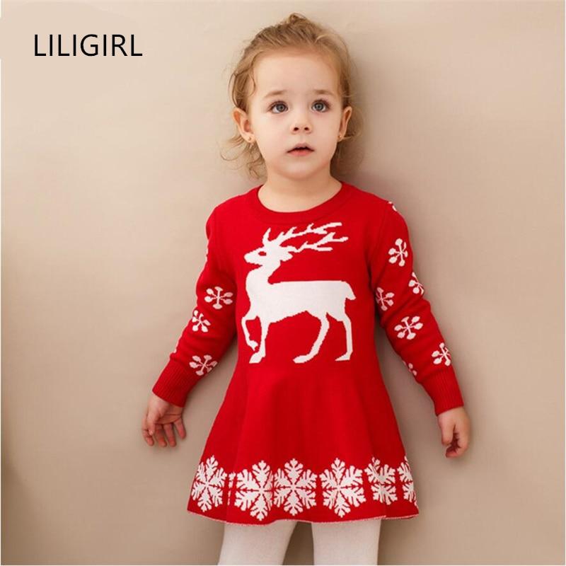 LILIGIRL Long Sleeve Christmas Elk Dress for Baby Girls Kint Sweater Clothes Children Elegant Print Deer Princess Party Dresses шарль азнавур шарль азнавур три хита легкое переложение для фортепиано гитары