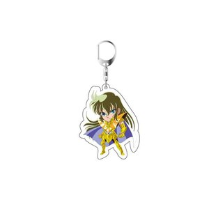 Image 2 - 2019 Saint Seiya Keychain Double Sided Key Chain Acrylic Pendant Anime Accessories Cartoon Key Ring Cute Japanese Key Rings