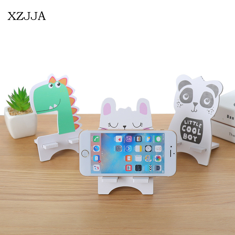 XZJJA Cute Cartoon Animal Cellphone Storage Rack DIY Assembly Mobile Phone Tablet Fixed Holder For Smart Devices Charging Stents