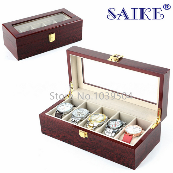 5 Grids Watch Display Box Red Piano Paint Storage Box Fashion MDF Watch Box New Brand Storage Watch Boxes D022 jinbei em 35x140 grids soft box