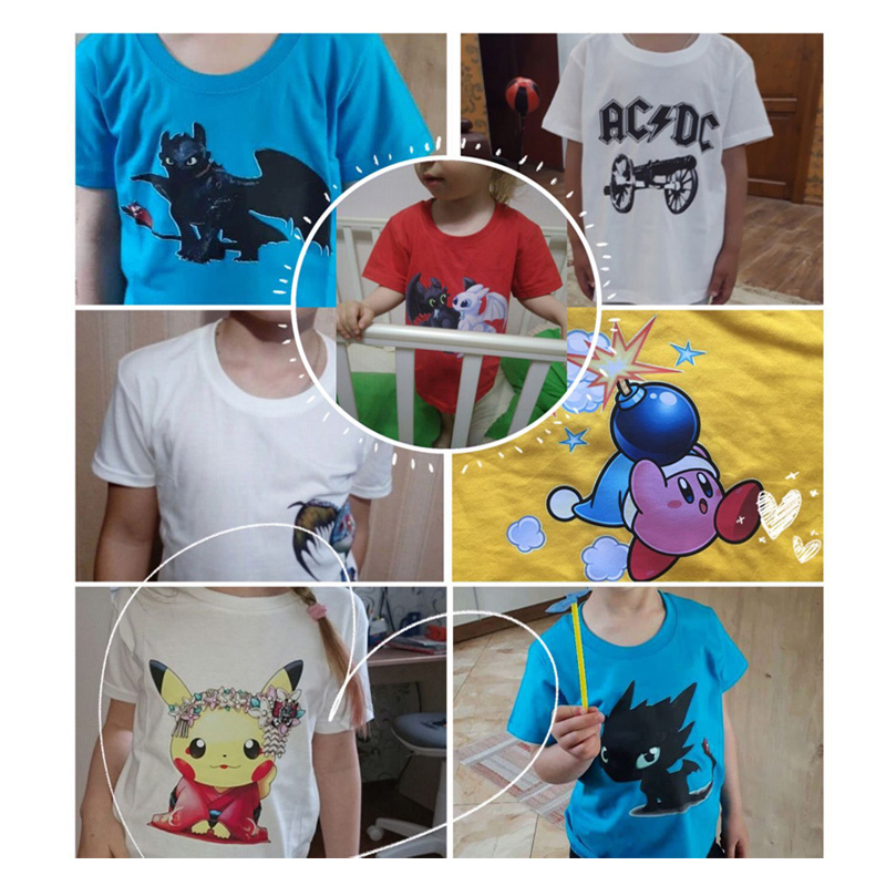 Kids girls baby clothes for summer Submarine penguins cartoon Printing T Shirt Girls Summer Clothes Short Blue Cotton T shirts in T Shirts from Mother Kids
