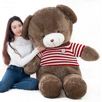 big plush round eyes red striped sweater teddy bear toy huge bear doll gift about 160cm
