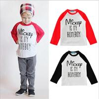 Spring Babies Letter Cotton T-shirts 2017 Kids Boys and Girls Casual Shirts Children's Fashion Wholesale Clothing