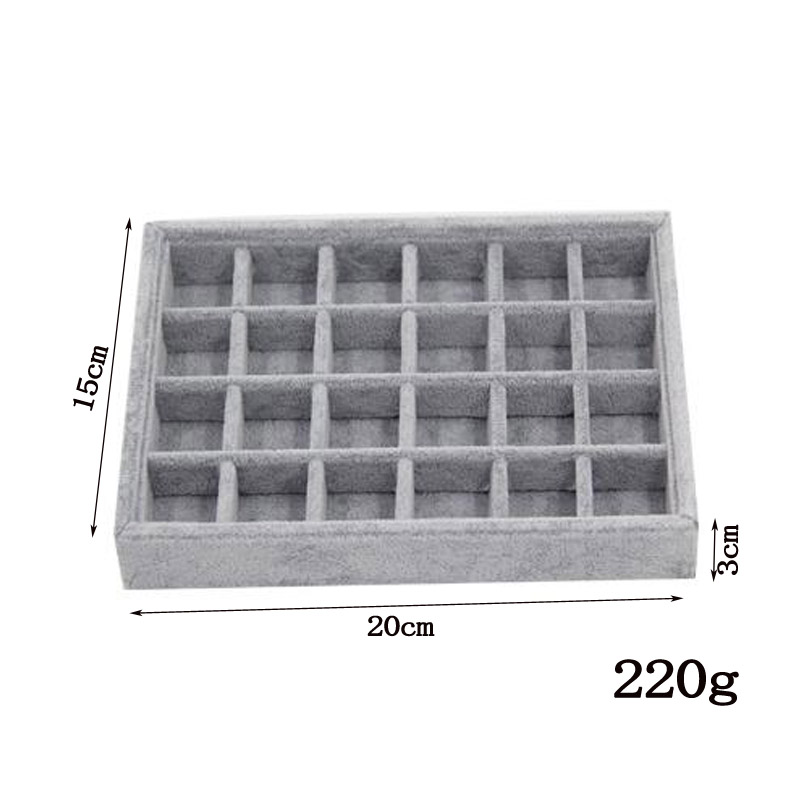 Jewelry Earrings Necklaces Pendants Bracelets Trays Holder Cases Velvet Jewelry Packaging Display DIY Storages Trays Gray Soft