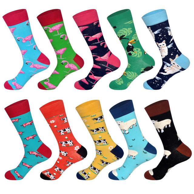 Men's Dress Socks Novelty Alien Animals Flamingo Macaw Sheep Cat Pig Cow Cotton Art Funny Happy Harajuku Hip Hop Warm for Men