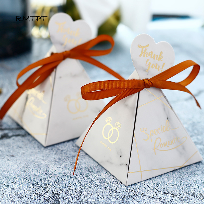 Rmtpt Marble Style Gift Box Wedding Favors And Gifts Triangular