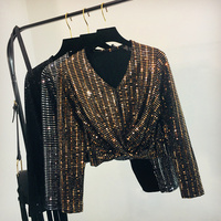Gorgeous Gold Glitter Cross Tshirt Women Fashionable Bling Bling Spring Autumn V Neck Sequins T shirt Sexy Night Club Crop Top