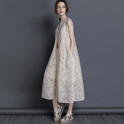 2018 New Summer Dresses silk organza Dress Loose long section Dress Women Sleeveless vest Sexy Vestido Office Party Beach dress
