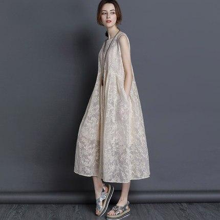 2019 New Summer Dresses silk organza Dress Loose long section Dress Women Sleeveless vest Sexy Vestido Office Party Beach dress