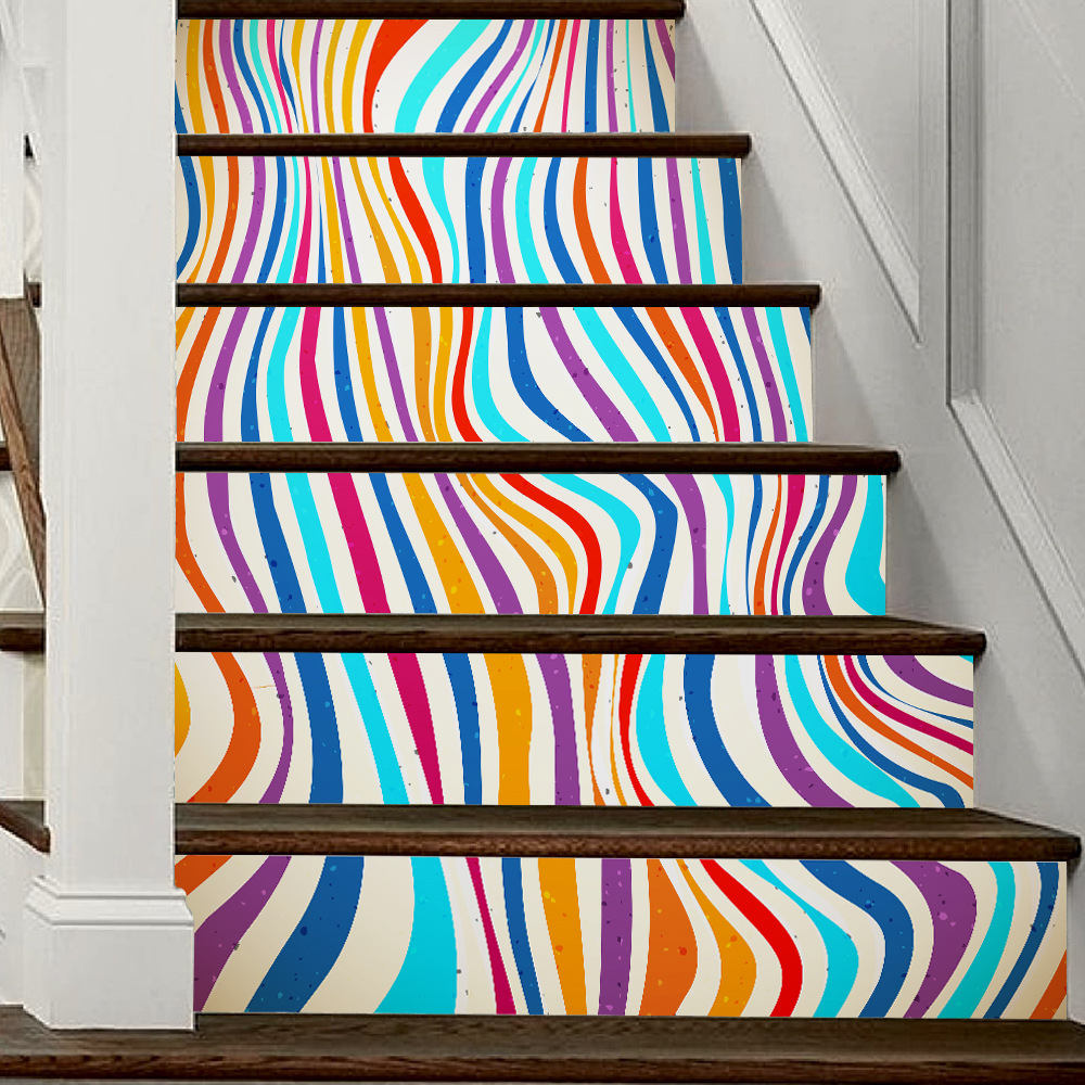 New Colorful Striped Wallpaper Fashion Self Adhesive Wall Murals wallpaper PVC Living Room Stairs Sticker Home Decoration creative letters design adventure diy pvc sticker adhesive wallpaper
