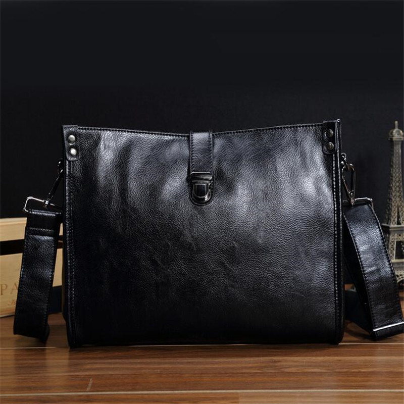 Men's black leather briefcase computer bag shoulder diagonal style bolso para hombre de cuero europeo pasta executiva masculino набор для кухни pasta grande 1126804