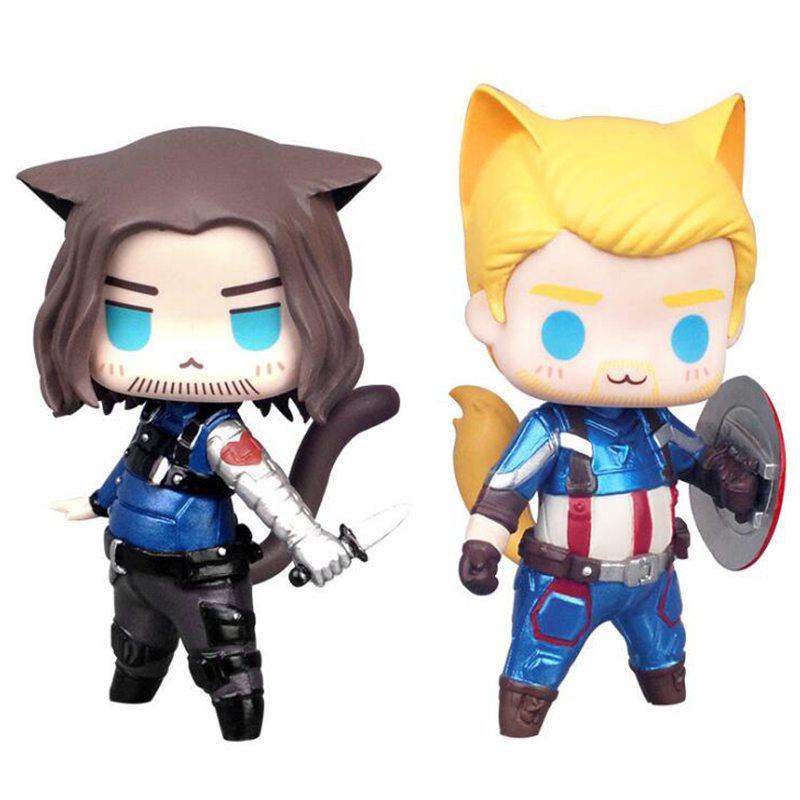 Cute 8cm Cat Version anime figure Thor Captain America Winter Soldier Loki nendoroid Joker Action Figures Model  toy figures stuffed toy