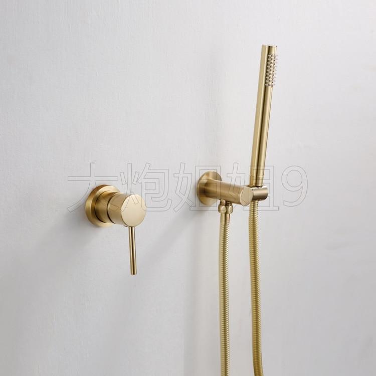 Shower Faucets Gold Brass Brushed Wall Concealed Bathroom Single Handle Bar Spray Shower Head Bath Shower Set YD 751
