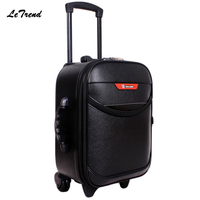 Letrend New Fashion Rolling Luggage Wheels Red Trolley Case 16 22 Inch Travel Bag Men Boarding