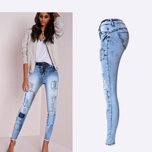 Image 2 - Summer Style Low Waist Sky Blue Patchwork Skinny Tights Women Pencil Jeans High Stretch Sexy Push Up Denim Women Fashion Jeans