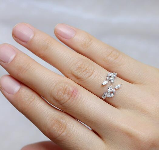 Luxury Cubic Zirconia 925 Sterling Silver Leaves Rings For Women Fashion Wedding Rings Sterling Silver Jewelry VRS2055