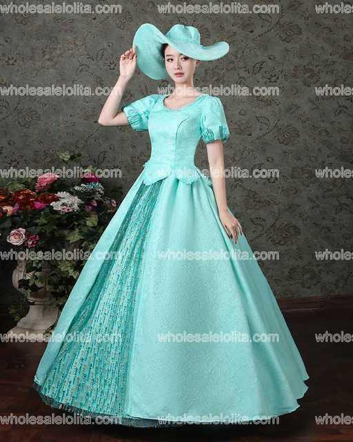 Neue Ankunft Blau Rokoko Barock Marie Antoinette Ballkleid Kleider ...