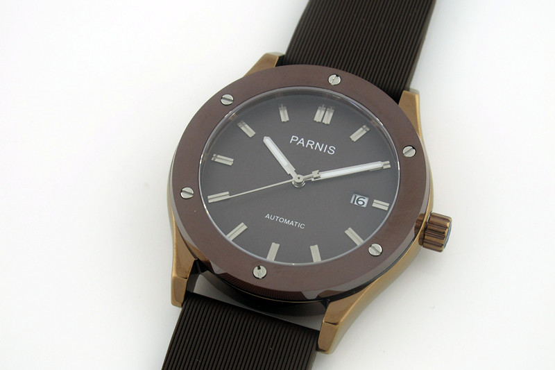 Hot Sale 43mm Parnis P6024 Automatic Stainless Steel Wristwatch Rubber Strap