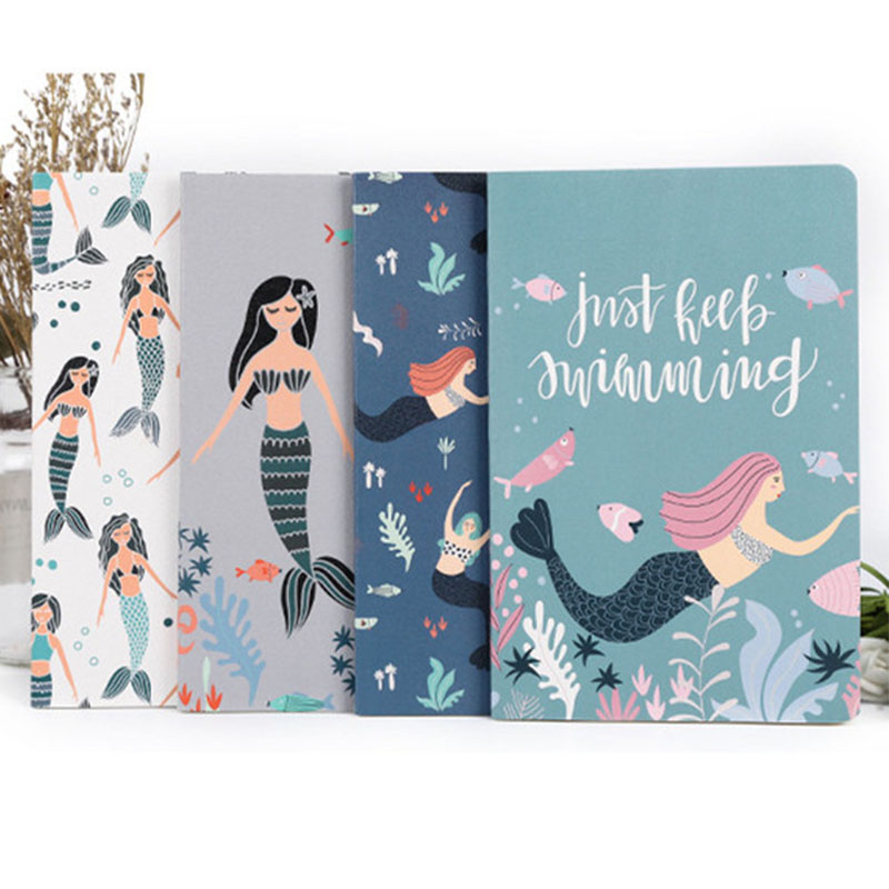 A5 Mermaid Notebook Soft Cover Notepad Office School Stationery Sketchbook Diary Planner Writing Pads Kawaii Bullet Journal