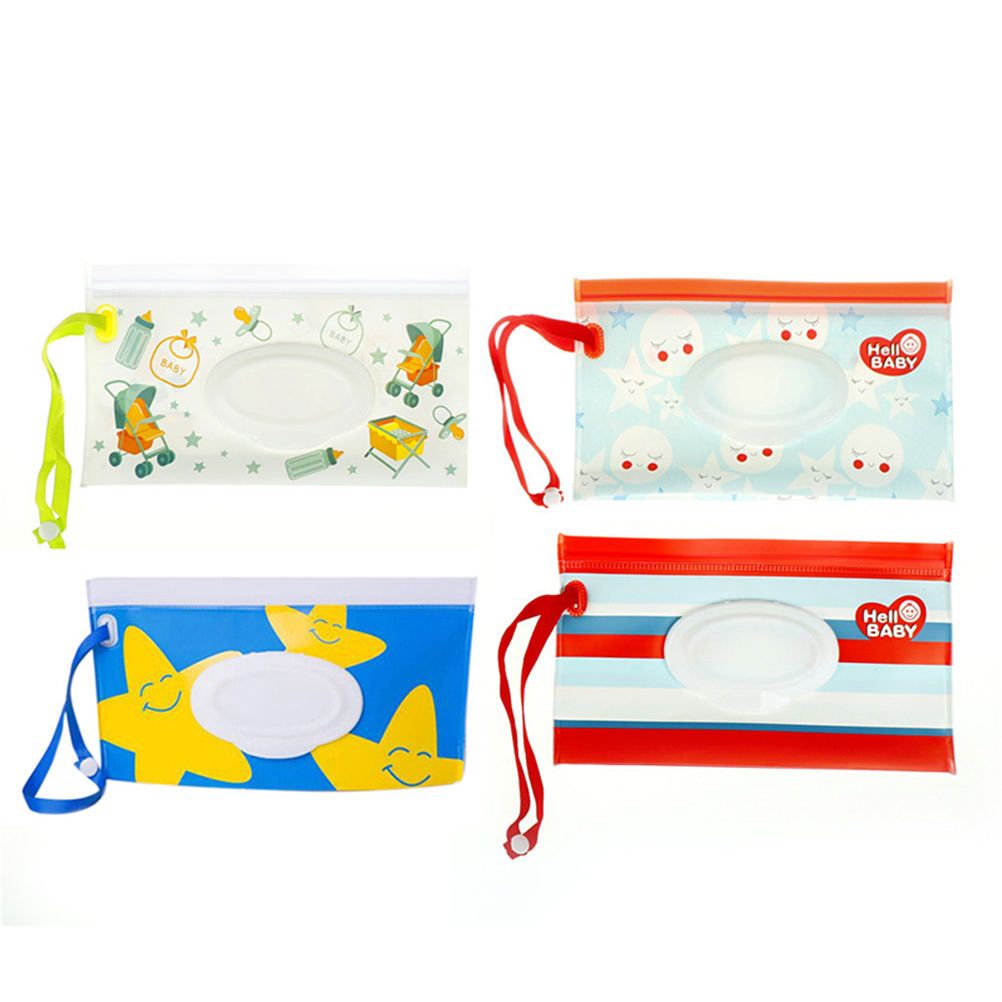 Clamshell Cosmetic Pouch Clutch And Clean Easy-carry Snap-strap Wipes Container Wipes Carrying Case Eco-friendly Wet Wipes Bag