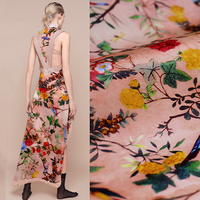 140CM Wide 14MM Floral Birds Print Orange Silk Organza Fabric For Spring And Summer Dress Clothes