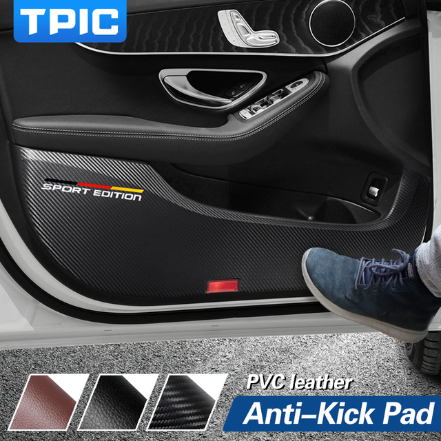 TPIC Car Door Anti kick Pad Stickers Ultra thin Leather PVC Door Protection Side Edge Film For Mercedes w204 w205 w213 C E Class