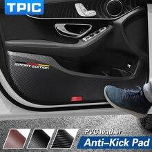 TPIC autocollants Anti coup de pied pour porte de voiture Ultra fine en cuir PVC, Film de Protection latérale pour Mercedes w204 w205 w213 classe C