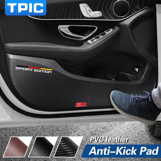 TPIC 車の kick パッドステッカー超薄型革 PVC ドア保護サイドエッジフィルムメルセデス w204 w205 w213 C E クラス