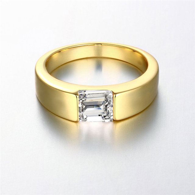 24K Yellow Gold Rose Gold White Gold Color Men Ring Square