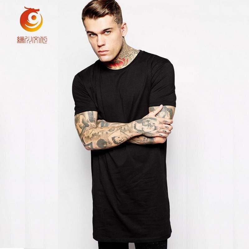 T shirt black long tee shirts brand clothing long length t for Extra long mens dress shirts