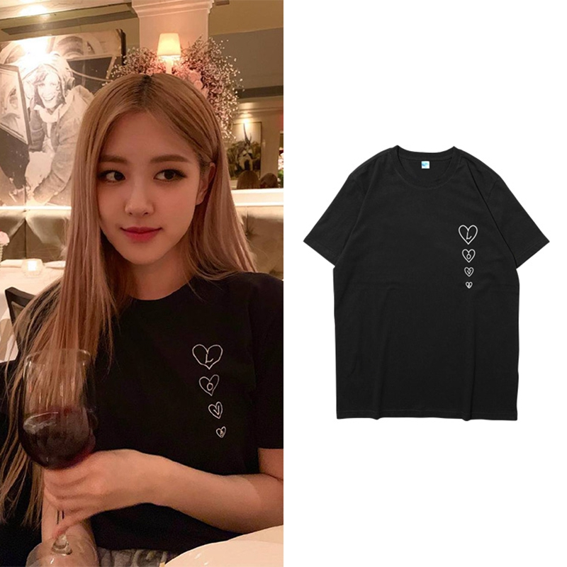 Kpop BlackPink Cotton Harajuku Woman T Shirt ROSE Casual Short Sleeve Cotton Blended Printing Loose T-shirt Korea Summer