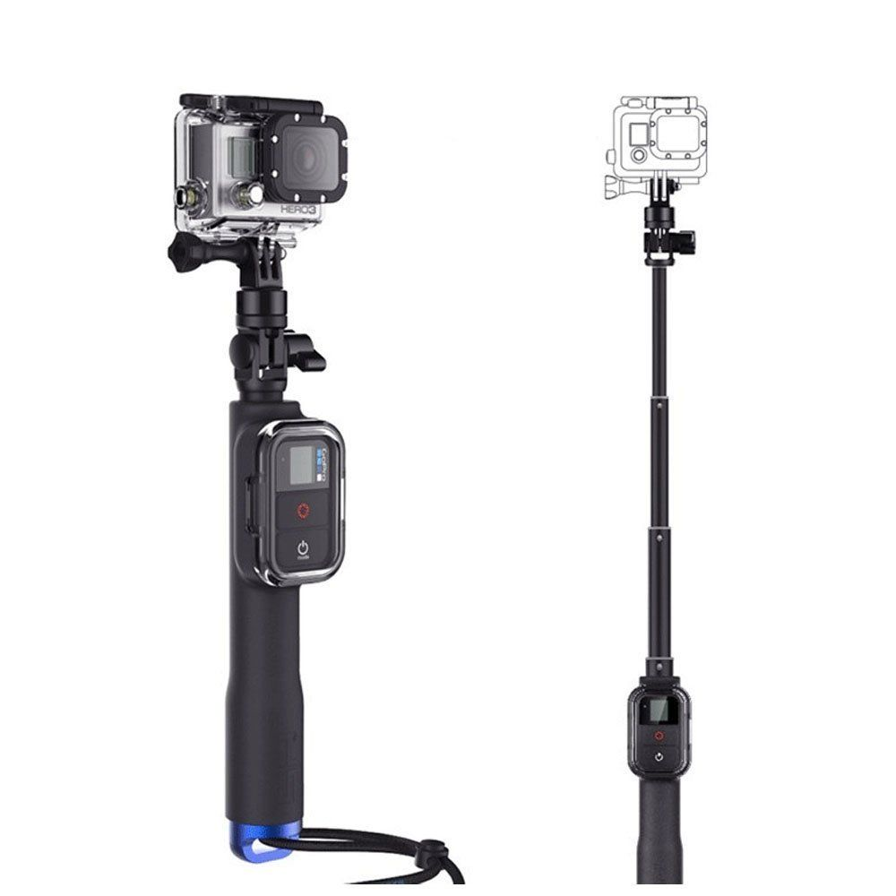 shoot 39 inch extendable handheld selfie stick monopod for gopro hero 5 4 session 3 sjcam xiaoyi. Black Bedroom Furniture Sets. Home Design Ideas