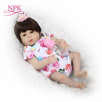 NPK Adorable 55CM Reborn Doll Handmade Full Silicone Bebes Reborn Boy Doll Boneca In Cute Clothes famale body fake baby dolls
