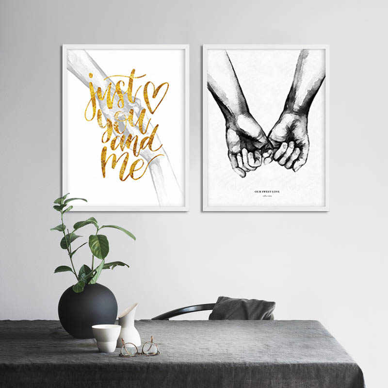 Couple Holding Hand Canvas Nordic Poster Print Romantic Anniversary Gift Wall Art Decorative Picture Painting Living Room Decor