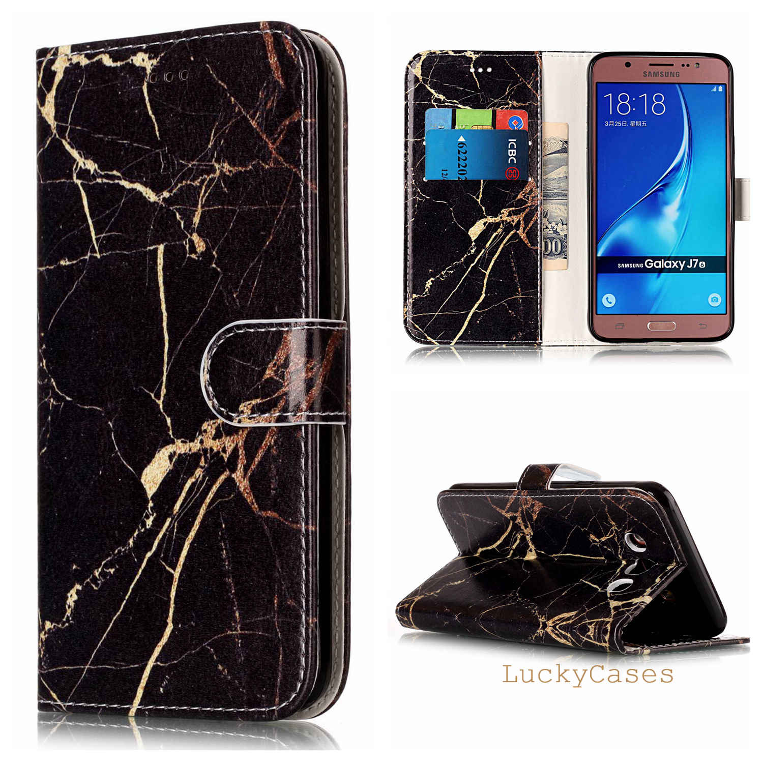 for Samsung J710 J7 2016 Phone Cover Marble Texture Leather Wallet Flip Phone Case for Samsung J710 J7 2016