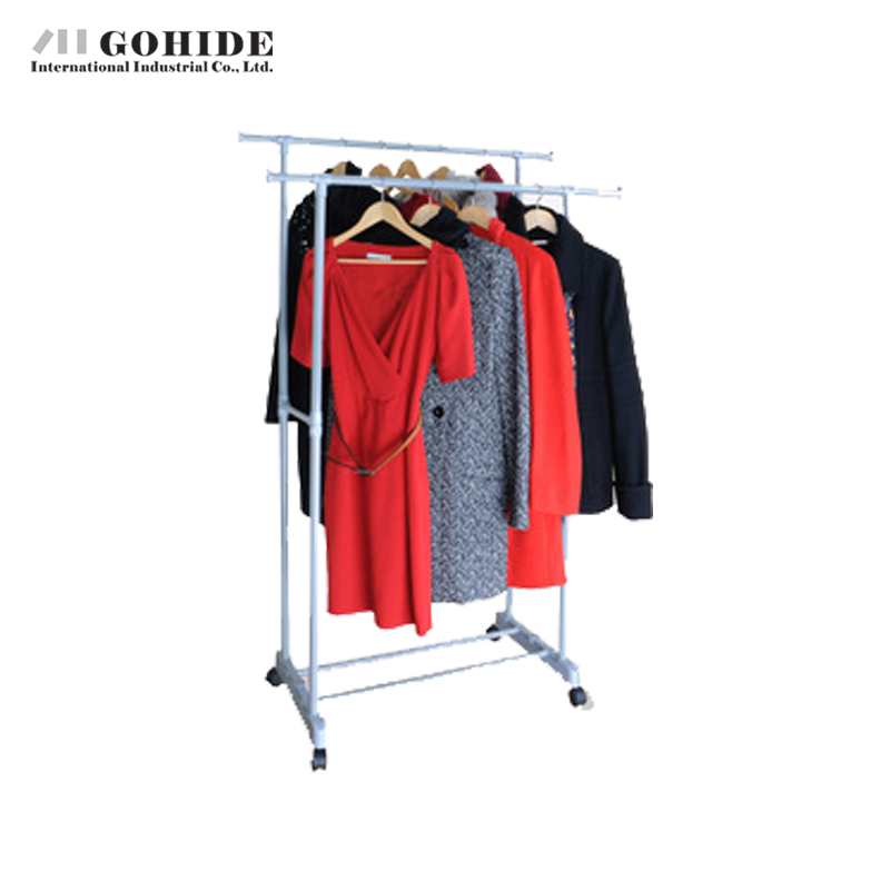 Gohide Double Clothing Racks Hanger Furniture Floor Racks Lifting Drying Racks Nursing Yj75-2a Coat Wheels Mesh Shoe Rack