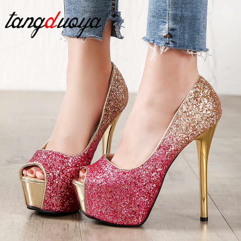 high heels Womens Sexy Peep Toe Pumps Platform shoes Gold Black Pink Wedding Party shoes women Pumps party shoes for women 2019