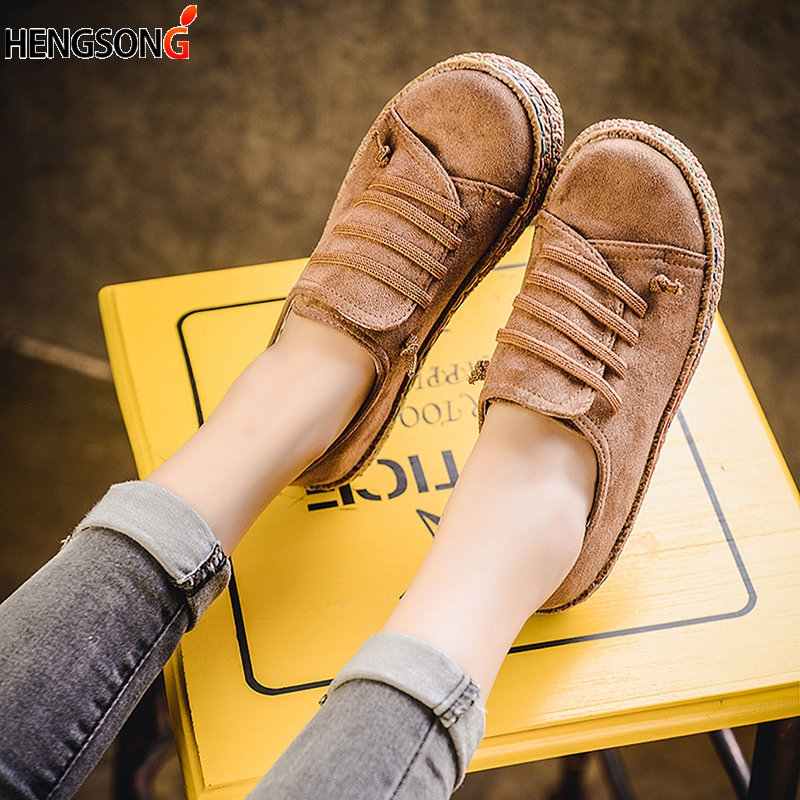 2019 New Spring Women Flats Shoes Loafers Round Toe Wide Shallow Slip-on Casual Lady Flats Shoes Slip On Oxford Shoes