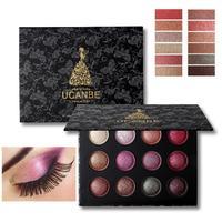 UCANBE Brand 12 Color Baked Eyeshadow Palette Makeup Long Lasting Shimmer Metallic Eyes Shadow Glitter