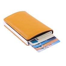 3372aba49 Los hombres de Metal titular de la tarjeta RFID de aleación de aluminio  titular de la tarjeta de crédito de la PU billetera de c.