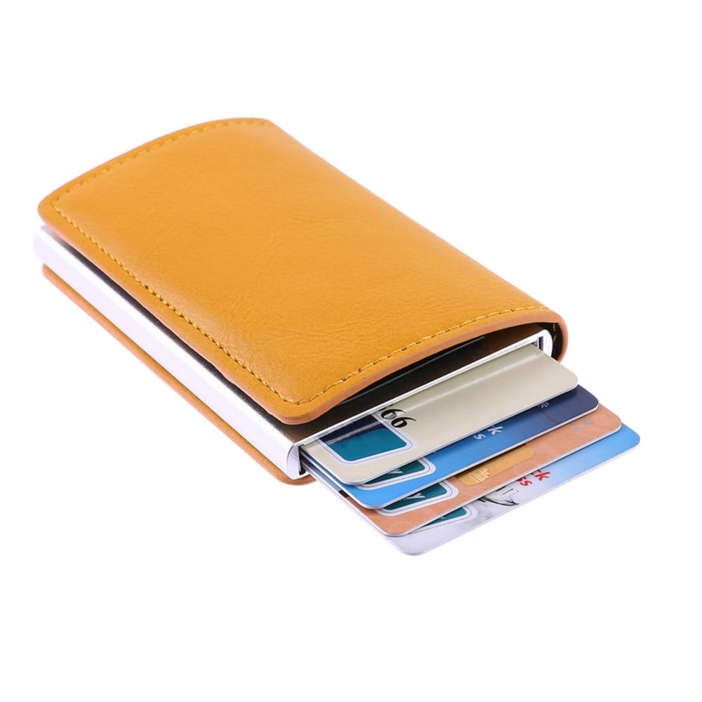 Tarjetero de Metal para hombres, tarjetero de aleación de aluminio RFID, Cartera de cuero PU, cartera antirrobo para hombres, caja de tarjeta emergente automática