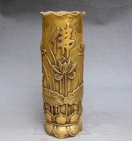 Tnukk античная латунь медь Резные рельефы лотоса ладан украшения ручка медные трубы.