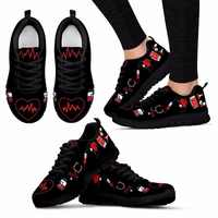 Twoheartsgirl Women Flat Shoes Printing Heart Sneakers for Women Breathable Black Female Ladies Summer Mesh Shoes Flats Plus