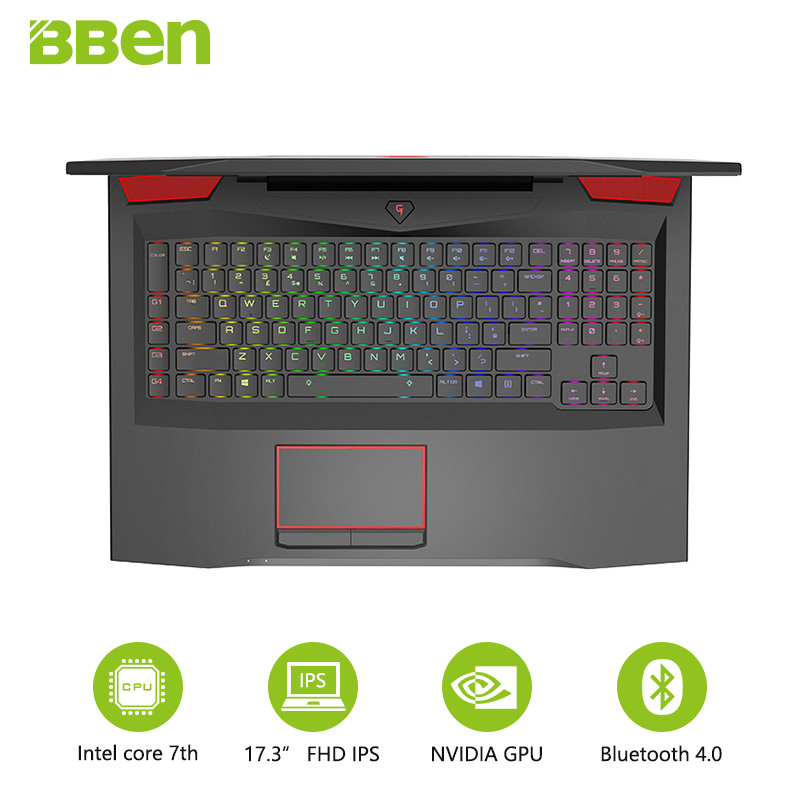 цена на Bben laptop 17.3inch FHD Intel QUAD Core i7-7700HQ CPU DDR4 RAM 16G , 256G SSD ,1TB HDD NVIDIA GEFORCE GTX1060 Windows 10